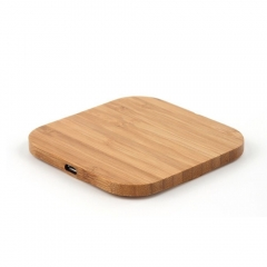 Portable Qi Wireless Charger Charging Slim Wood Pad