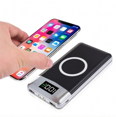 10000mAh Wireless Power Bank Dual USB With LCD Display