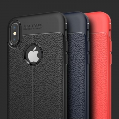For iPhone Xs Xr Xs Max Leather Pattern Case Plastic Cover