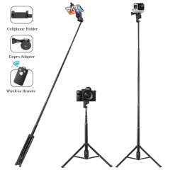 Selfie Stick Tripod 54 Inch Extendable For Cellphone and Gopro