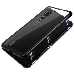 For Huawei Ultra Slim Magnetic Adsorption Phone Case Metal Frame Clear Tempered Glass Back Cover
