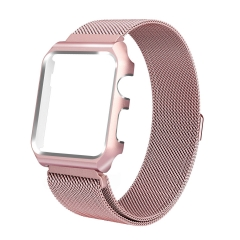 For Apple Watch Band Stainless Steel Mesh Magnetic Wrist Band with Metal Protective Case