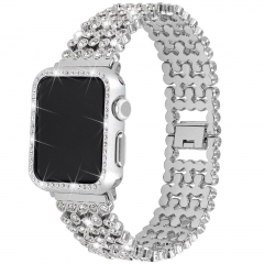 For Apple Watch Rhinestones Band with Diamond Face Cover Bling Stainless Steel Wristband