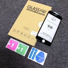 For iPhone 5D Curved Full Cover Screen Protector Tempered Glass With Box