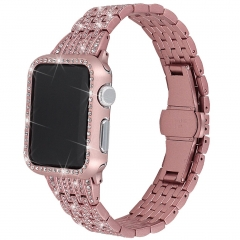 For Apple Watch Band with Rhinestones Face Case Bling Stainless Steel Diamond Wristband
