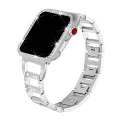 For Apple Watch Band with Rhinestone Protective Cover Bling Wristband
