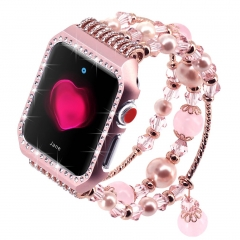 For Apple Watch Band Glittering Diamond Case with Elastic Stretch Bracelet Rhinestone Strap