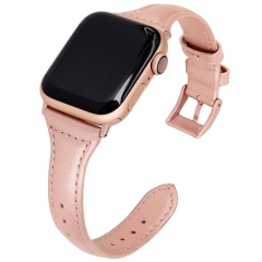 For Apple Watch Slim Retro Genuine Leather Strap with Stainless Steel Clasp
