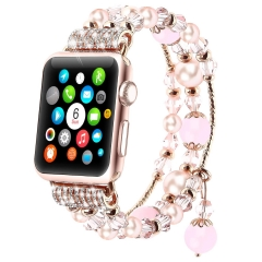 For Apple Watch Band Fashion Elastic Stretch Crystal Pearl Bracelet