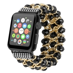 For Apple Watch Crystal Beads iWatch Bracelet Metal Chain Elastic Stretch Watch Band