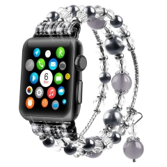 For Apple Watch Band Elastic Stretch Faux Pearl Natural Stone Bracelet