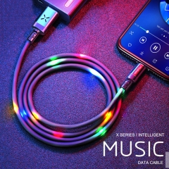 Volume Control Dancing LED USB Cable Fast Charging Cable For iPhone X XS MAX 8 6 6s Plus