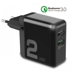 QC 3.0 Dual USB Quick Charger Travel Wall Adapter 30W FCP Universal For Xiaomi iPhone Samsung Huawei EU Plug