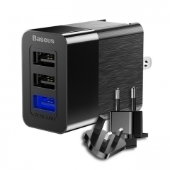 3 USB Port Charger 3 in 1 Triple EU US UK Plug 2.4A Travel Adapter