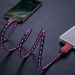 Flat LED Flow Glow USB Cable For iPhone 2.4A Data Sync Fast Charging Cable Charger Cable