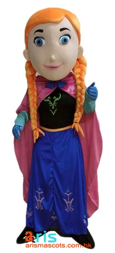Adult Fancy Frozen Princess Anna Mascot Costume Disney Cartoon Character Mascot Outfits for Party