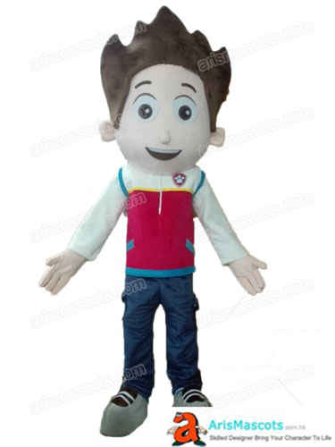 Adult Size Paw Patrol Ryder Costume Full Body Plush Suit Fancy Dress Cartoon Mascots Carnival Costumes