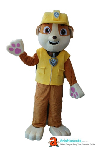 Paw Patrol Mascot Rubble Costume Adult Size Full Body Plush Mascot Rubble Fancy Dress Cartoon Mascots for Sale