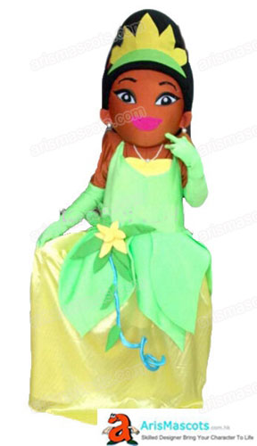 Adult Fancy Princess Tiana Mascot Costume Cartoon Character Mascot Dress for Birthday Mascots Party