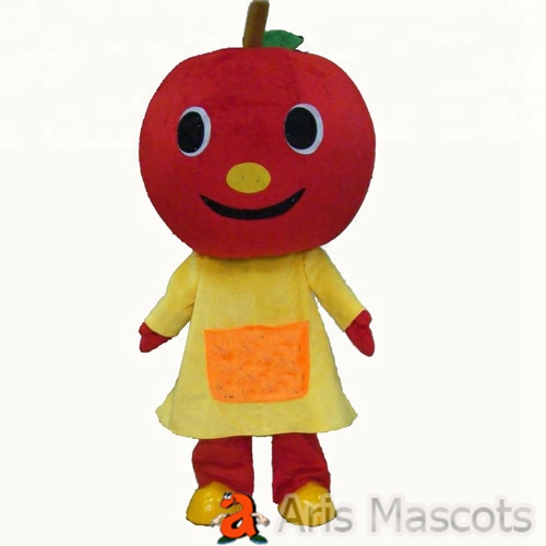 Foam Mascot Apple Costume Adults Full Mascots for Carnival and Halloween Events Red Apple Costume with Yellow Dress