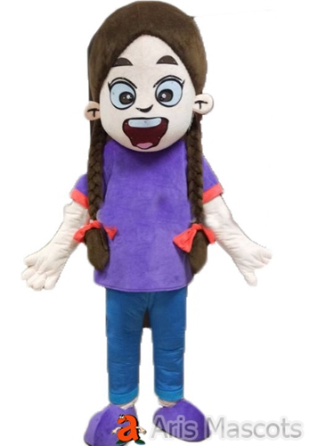 Foam Mascot Brown Hair Girl Costume with Purple Dress Change Color or Add Props Receive as Displayed
