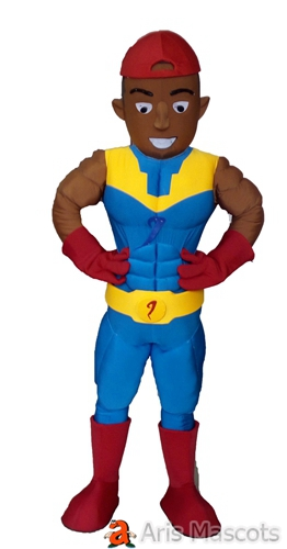Tan Color Muscles Man Costume Full Body Adult Superhero Mascot Outfit
