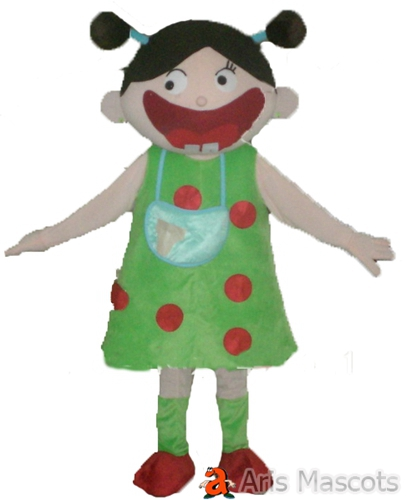 Big Mouth Girl Costume Full Body Mascot with Green Dress , Disguise Girl Fancy Dress up