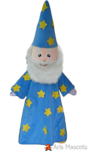Aged Man Mascot Costume with Blue hat and Robe for Party