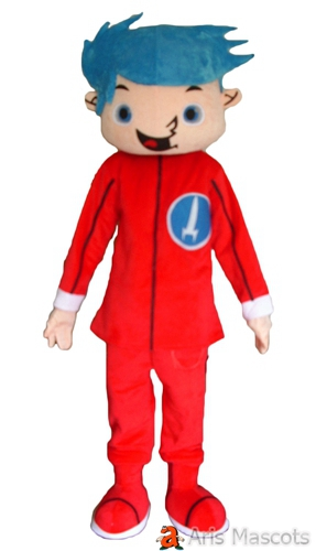 Cute Full Body Mascot Boy With blue Hair and Red Suit-Cute Boy Fancy Dress Up