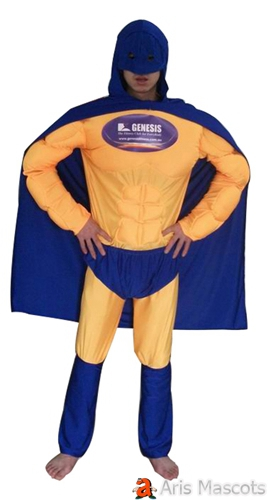 Superhero Costume Full Body Mascot , Muscle Man Superhero Fancy Dress with blue Cape