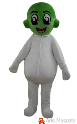 Green Head Alien Mascot Costume with Full White Body, Big Eyes Alien Suit