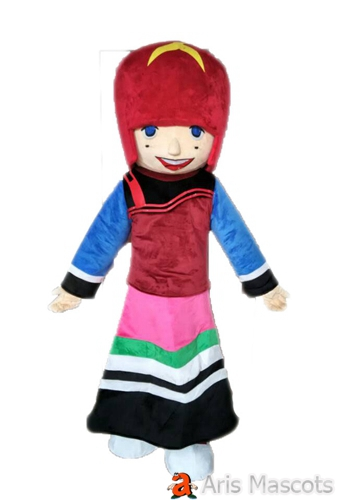 Lovely Girl Mascot Costume for Event , Disguise Girl Full Body Suit for Parades