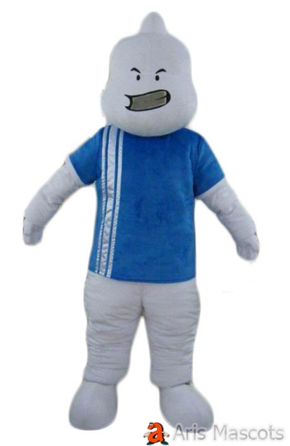 White Man Mascot with Blue Shirt, Receive as Displayed Mascot Full Body Fancy Dress for Sale