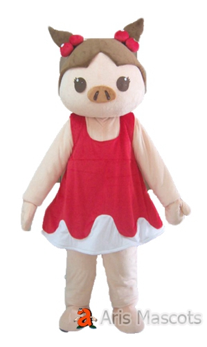 Lovely Girl Pig Mascot Costume with Red Dress, Cosplay Pig Fancy Dress