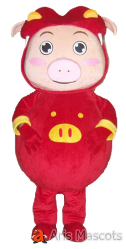 Big Body Pig Mascot Costume with Red Suit Lovely Full Pig Suit