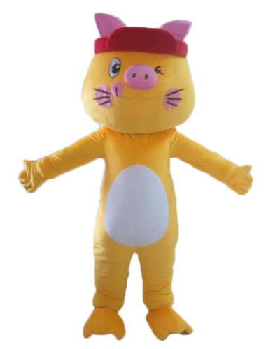 Yellow Pig Mascot Full Body Suit, Cosplay Pig Fancy Dress