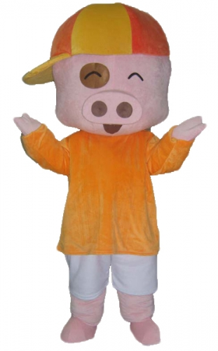 Lovely Pig Mascot Costume , Big Head Pig Adult Full Outfit