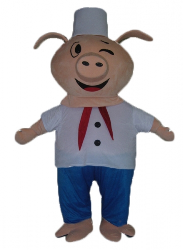 Chef Pig Mascot Costume, Full Body Pig Costume with Chef Outfit