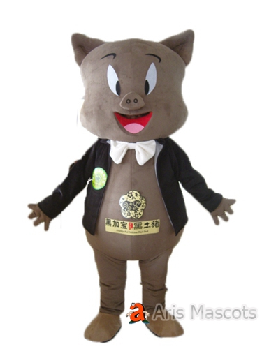 Lovely Fur Mascot Pig Costume Adult Full Body Suit for Sale