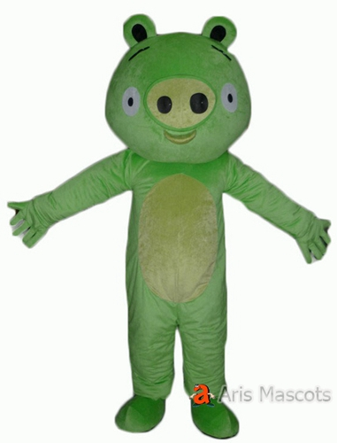 Pig Costume Adult Full Mascot Suit, Green Color