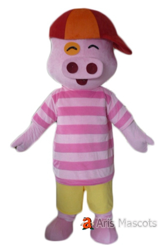 Lovely Pink Pig Mascot Costume, Big Nose Pig Fancy Dress with Hat
