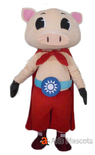 Big Head Mascot Pink Pig Adult Costume with Red Cape, Superhero Pig Full Outfit