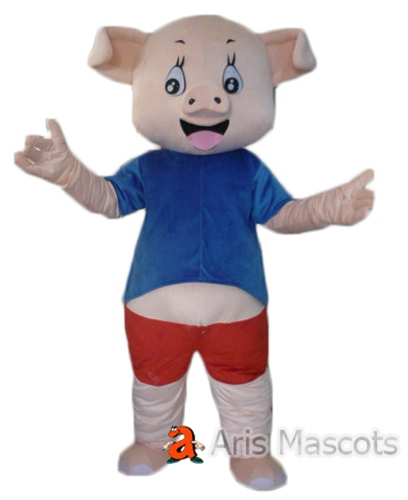 Lovely Pink Pig Mascot with Shirt and Shorts, Foam Head Mascot Pig Suit