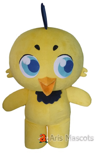 Giant Head Yellow Chicken Mascot Suit, Big Eyes Chicken Adult Costume
