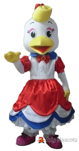 Mascot Hen Costume with Dress, Girl Chicken Adult Suit
