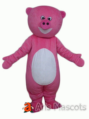 Mascot Pink Pig Costume , Funny Mascot Costumes Pig Adult Fancy Dress