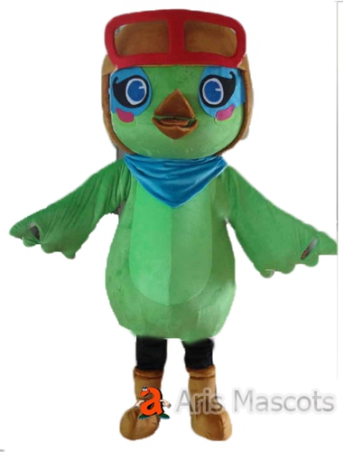 Green Chicken Mascot Costume with Goggles-Disguise Chicken Adult Fancy Dress