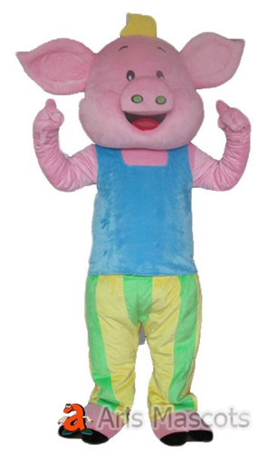 Big Smile Pink Pig Adult Costume for Carnival Events-Mascot Big Head Pig Adult Suit