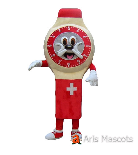Wrist Watch Mascot Costume ,Red and Full Body, Adult Watch Cosplay Suit
