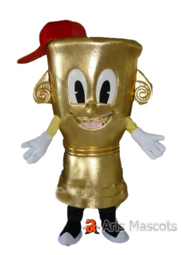 Giant Golden Torch Mascot Costume Full Body Adult Suit, with a Happy Face, Torch Cosplay Suit